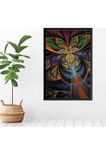 Quadro Love Decor Com Moldura Vitral Verde Preto Mã©Dio - Multicolorido - Dafiti