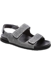 Sandália Rasteira Com Brilhos & Velcro- Cinza Escuro & Pfiever