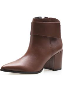 Bota Feminina Corello Minimal Ankle Boot Couro Atanado Corello Bota Marrom