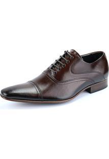 Sapato Social Oxford Em Couro Sapatofran Clássico Bico Fino Macio Mouro
