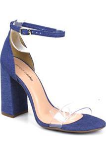 Sandalia Emporionaka Jeans Feminina - Feminino-Azul