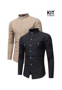 Kit 2 Camisas Masculinas Slim Fit Gola Padre - Khaki E Preta
