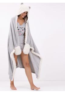 Robe Cobertor Em Fleece Com Bordado Urso