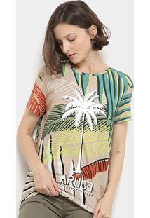 Camiseta Lez Lez Estampada Manga Curta Feminina - Feminino-Colorido