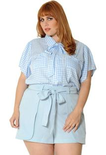 Camisa Vintage And Cats Plus Size Xadrez Vichy Azul