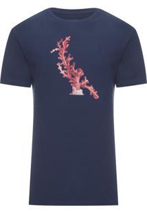 Camiseta Masculina Estampada Coral - Azul