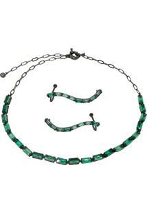 Conjunto Infine Choker E Brincos Ear Cuff Cristal Verde Turmalina - Kanui