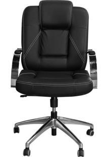 Cadeira Pethiflex Mônaco Giratória Couro Preto