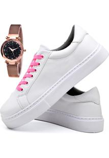 Tênis Sapatênis Casual Fashion Com Relógio Gold Feminino Dubuy 311El Branco - Kanui