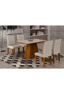 Conjunto De Mesa De Jantar Luna Com 4 Cadeiras Ane Ii Linho Imbuia E Branco