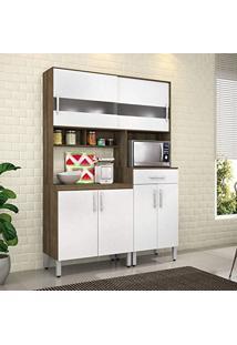 Armário De Cozinha 6 Portas 1 Gaveta Carol Movemax Terraro Tx/Branco Brilho