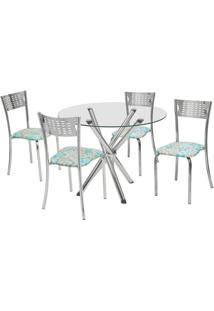 Conjunto De Mesa Com 4 Cadeiras Carol Corino Cromado - Única