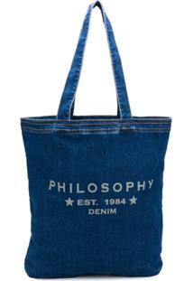 Philosophy Di Lorenzo Serafini Bolsa Tote Jeans - Azul