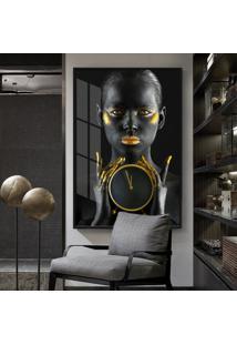 Quadro 150X100Cm Mulher Dourada Árvore Vidro Cristal E Moldura Preta Decorativo Interiores - Oppen House