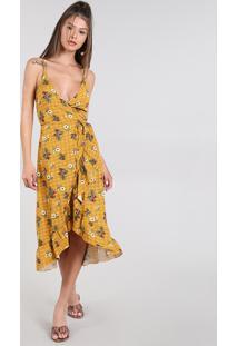 68fe4bb70 CEA. Vestido Feminino Midi Envelope Estampado Floral ...