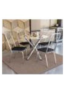 Conjunto Mesa Redonda De Vidro E 4 Cadeiras Kappesberg Cromado/Preto