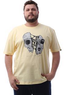 Camiseta Zero Skull Half Skate Plus Size Amarelo