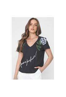 Camiseta Lança Perfume Bordados Preta