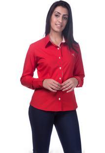 Camisa Manga Longa Maria Paes Casual Vermelha