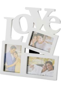 Porta Retrato Love 10X15 Para 3 Fotos- Prestige - Branco