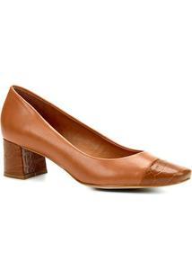 Scarpin Couro Shoestock Salto Baixo Cobra - Feminino-Caramelo