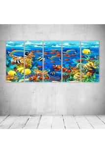 Quadro Decorativo - Dolphin Sea Seabed Fish Corals - Composto De 5 Quadros
