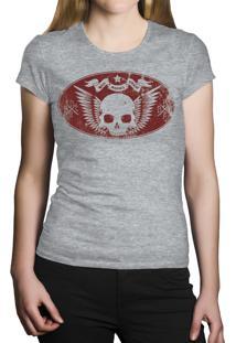 Camiseta Baby Look Hshop Caveira Vintage - Cinza Mescla