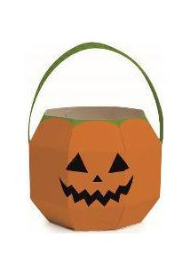 Cachepot Com Alça Abóbora Halloween Cromus