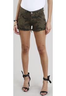 Short De Sarja Feminino Reto Estampado Camuflado Com Barra Desfiada Verde Militar