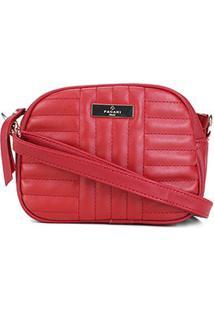 Bolsa Pagani Mini Bag Oval Matelassê Transversal Feminina - Feminino-Vermelho