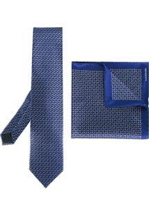 Lanvin Conjunto Gravata E Lenço De Seda - Azul