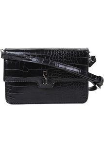 Bolsa Santa Lolla Mini Bag Croco Alto Brilho Feminina - Feminino-Preto
