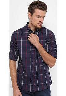 Camisa Xadrez Acostamento Manga Longa Masculina - Masculino
