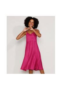 Vestido Feminino Midi Evasê Com Franzido Alça Média Rosa Escuro