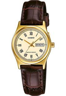 72e712bb379 ... Relógio Casio Ltp-V006Gl-9Budf Dourado Marrom