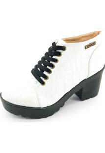 Bota Coturno Quality Shoes Feminina Croco Branco 33