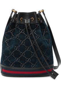 Gucci Bolsa Bucket Gg Com Cordão - Azul