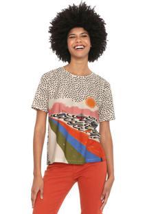 Camiseta Cantão Enseada Bege/Preta