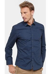 Camisa Social Ellus Regular Fit Mini Print Masculina - Masculino