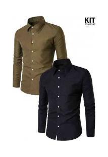 Kit 2 Camisas Masculinas Slim Cor Sólida - Verde Militar E Preta