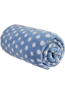 Cobertor Azul Estampa Poa 90X110Cm Baby Camesa