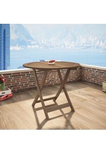 Mesa Dobrável Em Madeira Maciça Redonda 90Cm Primavera Casa E Jardim Móveis Stain Castanho