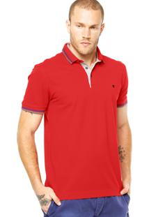 Camisa Polo Vr Gola Sobreposta Vermelha