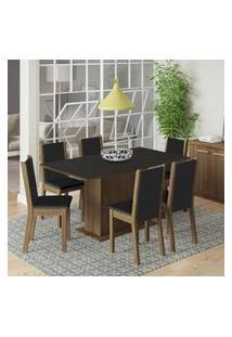 Conjunto Sala De Jantar Madesa Ohana Mesa Tampo De Madeira Com 6 Cadeiras Rustic/Preto/Sintético Preto