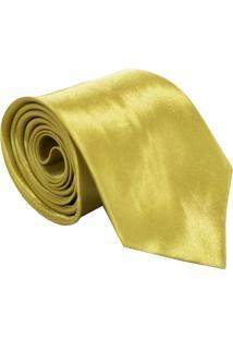 Gravata De Seda Lisa Unyforme Dourada