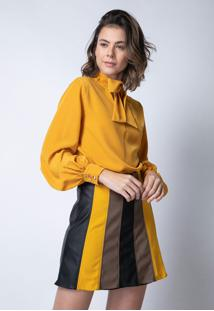 Blusa Enna Laã§O Amarela - Amarelo - Feminino - Poliã©Ster - Dafiti