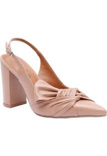 Sapato Chanel Em Couro Com Torção Frontal- Bege- Salle Rossi
