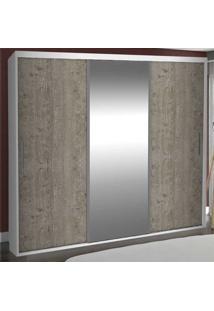Guarda-Roupa Casal 3 Portas Com 1 Espelho 100% Mdf 1975E1 Branco/Demolição - Foscarini
