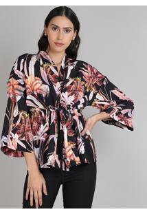 Kimono Feminino Amplo Estampado Floral Com Amarração Preto