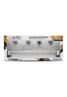 Kit De Acessórios Para Banheiro 5 Peças Alpes Cromado Aquaplás
